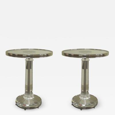 Baccarat Two French Mid Century Modern Style Solid Crystal Nickel Side Tables Baccarat