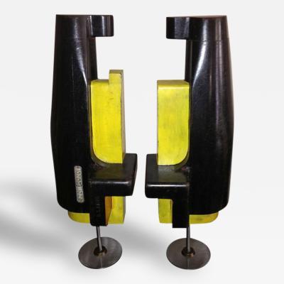 Baird Co Pair of Baird Co Machinist Wood Block Sculptures