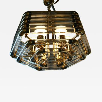 Bakalowits Sohne Brass Tubular Glass Hexagonal Lighting Fixture by Bakalowitz Sohne C 1970s