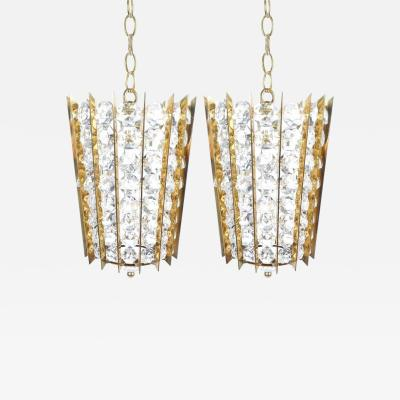 Bakalowits Sohne Pair of Bakalowits Sohne Crystal Glass and Brass Pendant Lights