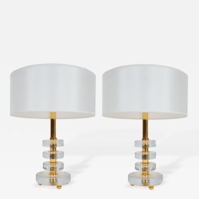 Bakalowits Sohne Set of 3 Round Glass Block Table Lamps