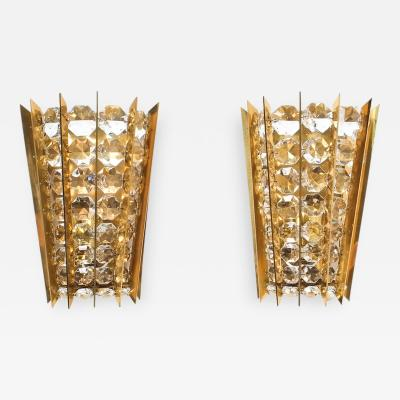 Bakalowits Sohne Set of Five Crystal and Brass Sconces by Bakalowits Sohne