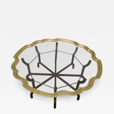Baker Furniture Co Brass and Glass Tray Top Coffee Table by Baker
