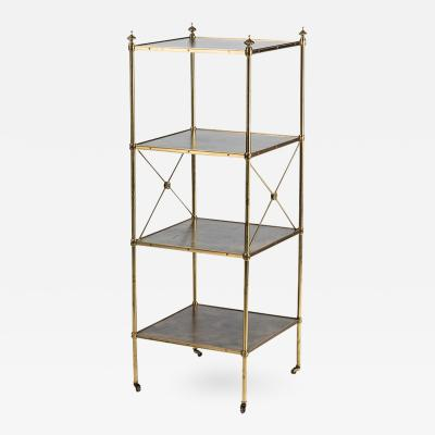 Baker Furniture Co Empire Style Brass and Leather Etagere by Baker