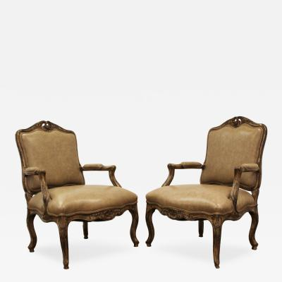 Baker Furniture Co Mid Century Modern Pair of Baker Interior Crafts Leather French Form Chairs