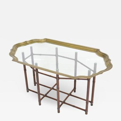 Baker Furniture Company BAKER Regency Faux Bamboo Brass Glass Oval Scalloped Cocktail Table 1970s