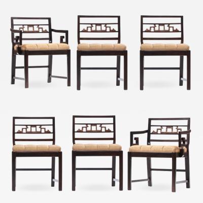 Baker Furniture Company Baker Asian Chinoiserie Mahogany Dining Chairs Set of Six circa 1950