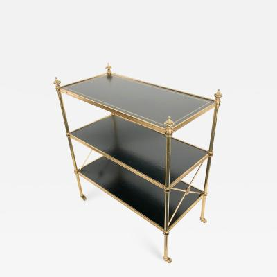 Baker Furniture Company Baker British Colonial Brass and Leather Rolling Bookcase