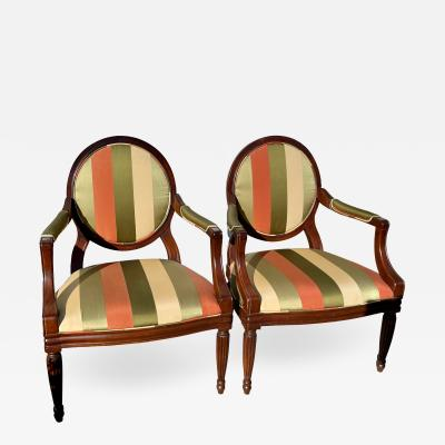 Baker Furniture Company Baker Furniture Company Milling Road Balloon Back Arm Chairs a Pair