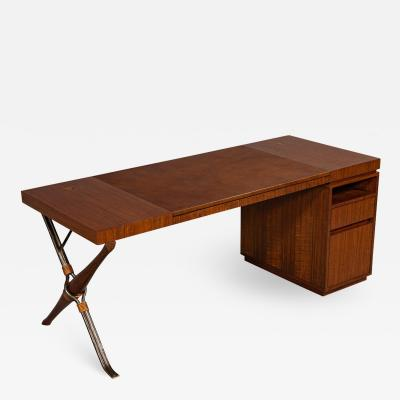Baker Furniture Company Modern Walnut Leather Top Writing Desk by Baker Furniture Mcguire Desk