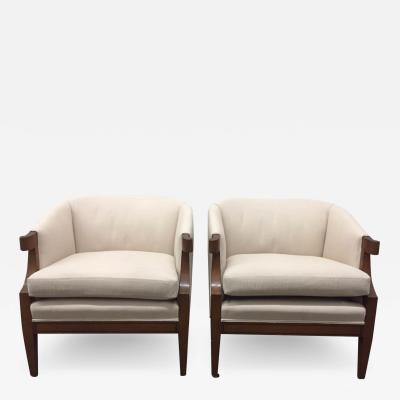 Baker Furniture Company Pair of Curved Armchairs by Baker