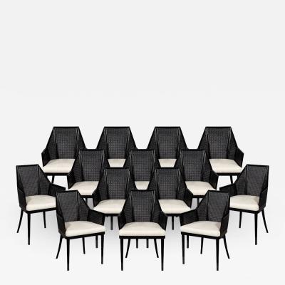 Baker Furniture Company Set of 14 Modern Black Cane Dining Chairs by Baker Kara Mann