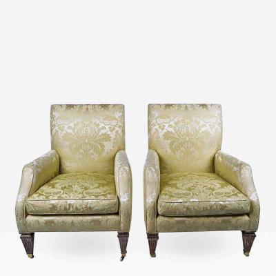 Baker Furniture Company Silk Damask Club Chairs by Baker Furniture Company a Pair