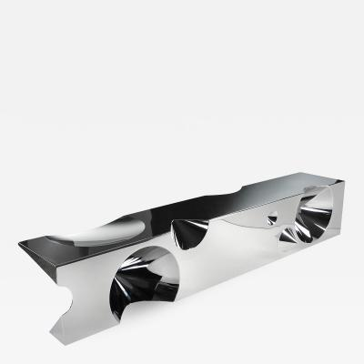 Barberini Gunnell Bench sculpture in mirror polished stainless steel crhome effect made in Italy