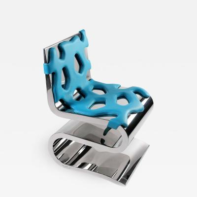 Barberini Gunnell Chair or side table in polished stainless steel chrome effect and blue leather