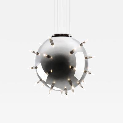 Barberini Gunnell Chandelier lamp in polished stainless steel chrome effect sphere Italy