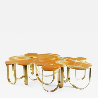 Barberini Gunnell Coffe table or center table in orange onyx and brass made in Italy