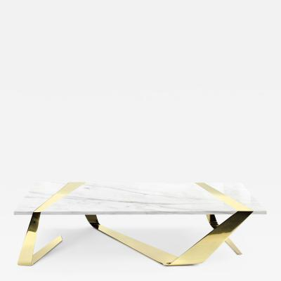 Barberini Gunnell Coffee table in polished brass gold chrome effect top in white marble Italy