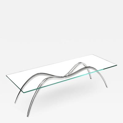 Barberini Gunnell Coffee table in polished stainless steel chrome effect clear glass top