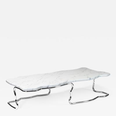 Barberini Gunnell Coffee table in polished stainless steel chrome effect white marble top