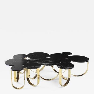 Barberini Gunnell Coffee table or center table in black Marquinia marble and polished brass Italy