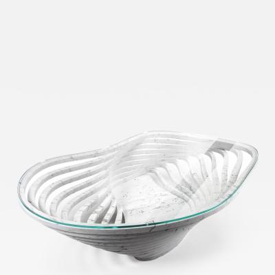 Barberini Gunnell Coffee table or center table in white carrara marble top in clear glass Italy