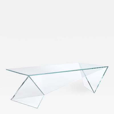 Barberini Gunnell Coffee table or cocktail tsble in clear crystal glass made in Italy