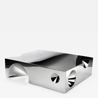 Barberini Gunnell Coffee table square in stainless steel chrome effect sculpture made in Italy
