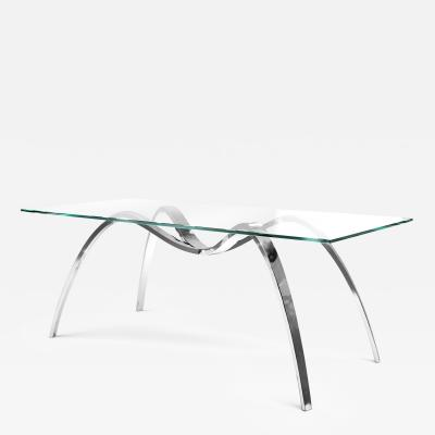 Barberini Gunnell Dining table in polish stainless steel chrome effect top in clear glass Italy
