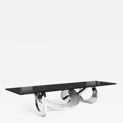 Barberini Gunnell Dining table in stainless steel chrome effect top in black marquinia marble