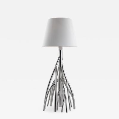 Barberini Gunnell Floor lamp in polished stainless steel chrome effect lampshade in white linen