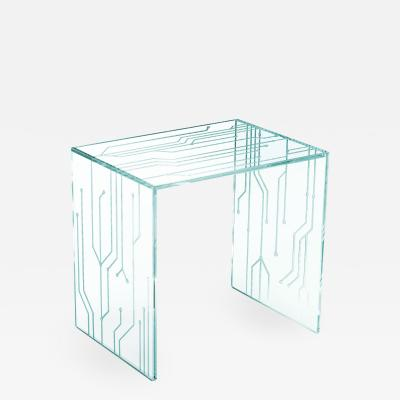 Barberini Gunnell Side table or bedside in clear glass engraved pattern made in Italy