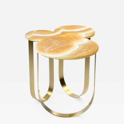 Barberini Gunnell Side table or bedside in orange onyx and brass made in Italy