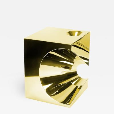 Barberini Gunnell Side table or stool square cubic in stainless steel gold chrome effect
