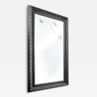 Barberini Gunnell Wall mirror black wood rectangular classic frame made in Italy