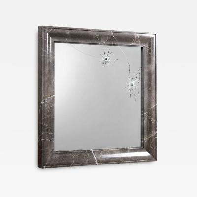 Barberini Gunnell Wall mirror square grey marble frame contemporary design made in Italy