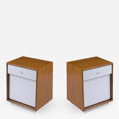 Barker Bros Pair of Lacquered Mid Century Modern Nightstands