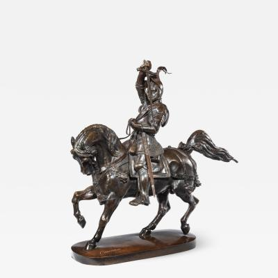 Baron Carlo Marochetti Italian bronze sculpture of Emanuele Filiberto Duke of Savoia by Marochetti
