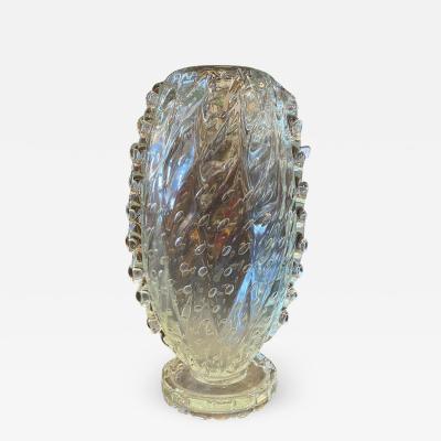 Barovier Toso 1950s Barovier Toso Translucent Bullicante Murano Glass Tall Vase