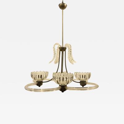Barovier Toso 1950s Mid Century Modern Barovier Murano Glass Chandelier