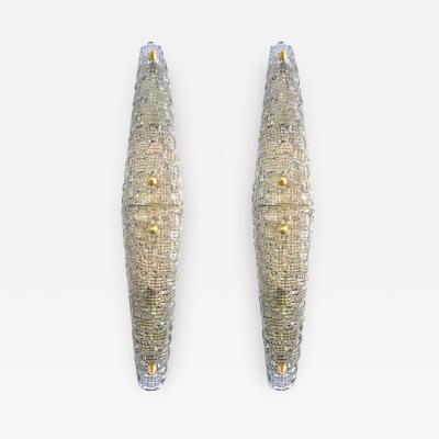 Barovier Toso 1960s Italian Crystal Murano Glass Pair of Diamond Shaped Sconces on Brass