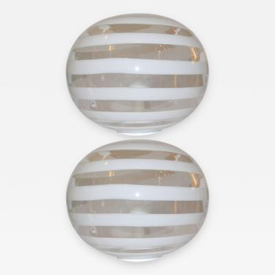 Barovier Toso 1960s Pair of Round Murano Glass Lamps by Barovier e Toso