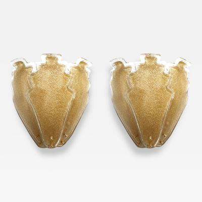Barovier Toso 2 pairs of large gold Granilia Murano glass Mid Century Modern sconces Barovier