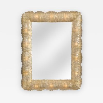 Barovier Toso A Murano Illuminated Rugiadoso Glass Mirror