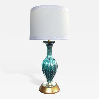 Barovier Toso A Murano Mid Century Teal Art Glass Silver Aventurine Lamp Barovier Toso