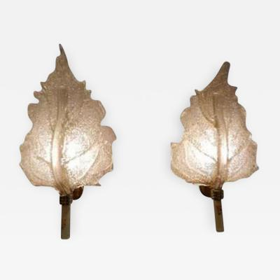 Barovier Toso A Pair of Leaf Shaped Wall Sconces by Barovier et Toso by Barovier