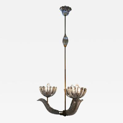 Barovier Toso Barovier Glass Chandelier with Bells and Leaves