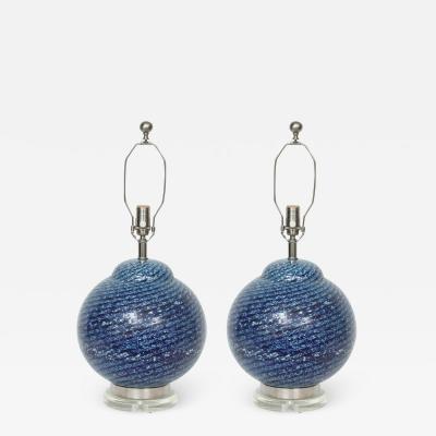 Barovier Toso Barovier Midnight Blue Murano Glass Table Lamps
