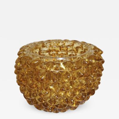Barovier Toso Barovier Toso 1950s Italian Vintage Amber Gold Rostrato Murano Glass Vase Bowl
