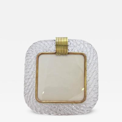 Barovier Toso Barovier Toso 1970s Vintage Clear Twisted Murano Glass Photo Frame with Silver